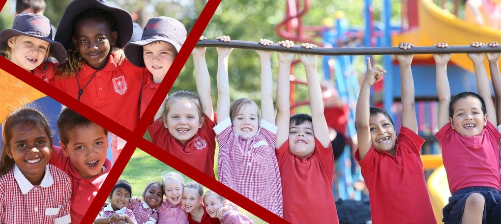 Collage of students at Albury North Public School having fun outside.